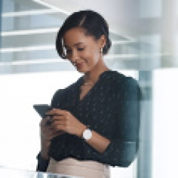 picture of woman looking at her phone